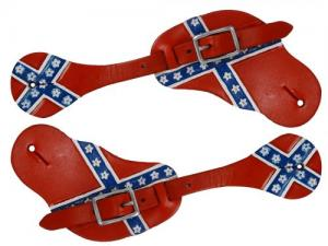 Men's Hand Painted Rebel Flag Spur Straps
