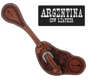 Showman® Mens Size Argentina Cow Leather Spur Straps