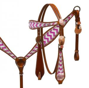 Showman Chevron Overlay Headstall & Breast Collar Set