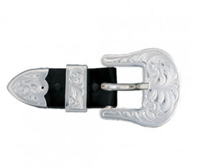 "3/4"" Clear Edge Engraved Silver Buckle Set"