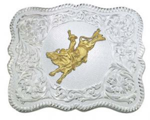 Scalloped Western Belt buckle Bull Rider