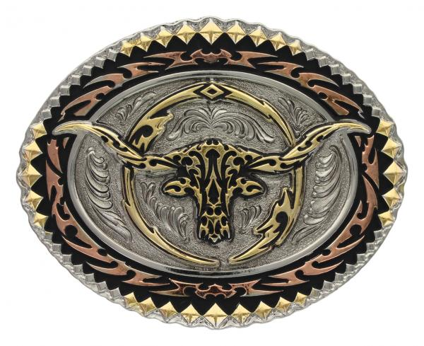 Tri-Color Scalloped Long Horn Buckle