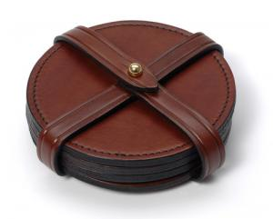 Round Leather Coasters - Plain or with stamped initials