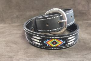 Stitched Leather Belt with Beaded Inlay