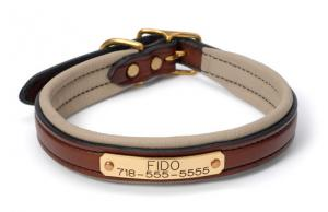 "Padded Leather Dog Collar - 17"" and up"