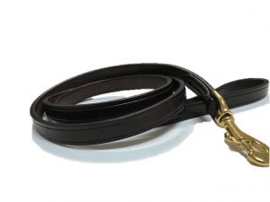 "Creased Leather Dog Leash- 7/8"" wide - 5' - 6' long"