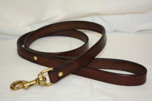 "Plain Leather Dog Leash -3/4"" wide - 4' - 5' long"