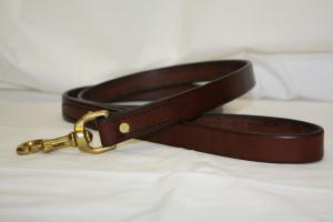"Plain Leather Dog Leash - 7/8"" wide - 5' - 6' long"