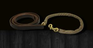 "Kentucky Leather Covered Chain Shank w/ 36"" Covered Solid Brass or SS Chain"