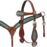 Headstall and Breast Collar-Teal Filigree Inlay