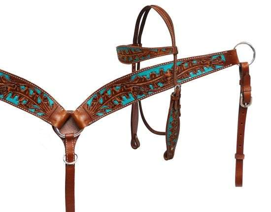 Painted Oak Leaf Headstall and Breast Collar Set