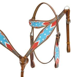 Rebel Flag Headstall and Breast Collar Set