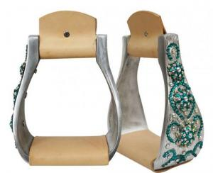 Showman Wide Engraved Stirrups with Conchos